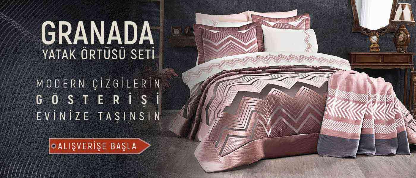 Vinaldi Granada Çift Kişilik Elyaflı Yatak Örtüsü Seti Gül Kurusu